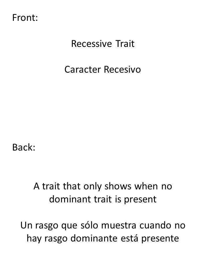 Front: Recessive Trait Caracter Recesivo Back: A trait that only shows when no dominant trait is present Un rasgo que sólo muestra cuando no hay rasgo