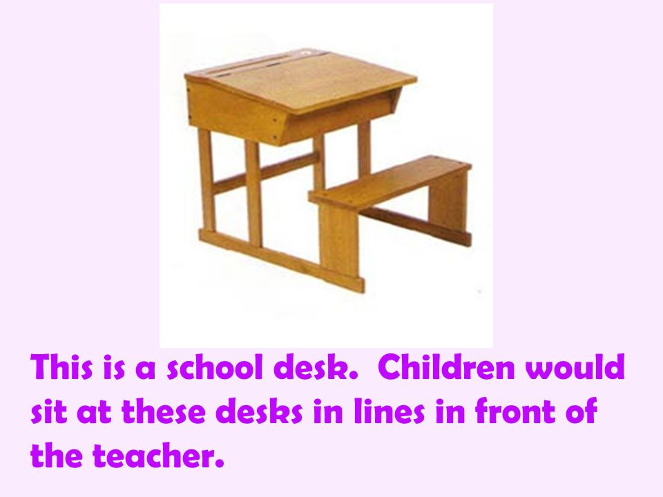 This is a school desk. Children would sit at these desks in lines in front of the teacher.