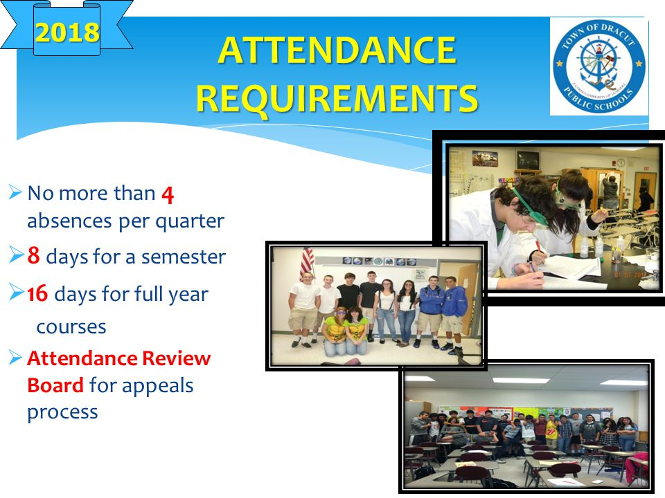 ATTENDANCE REQUIREMENTS  No more than 4 absences per quarter  8 days for a semester  16 days for full year courses  Attendance Review Board for appeals process 2018