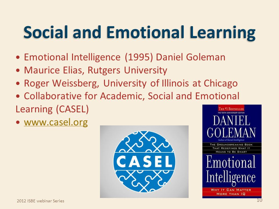 Emotional Intelligence (1995) Daniel Goleman Maurice Elias, Rutgers University Roger Weissberg, University of Illinois at Chicago Collaborative for Ac