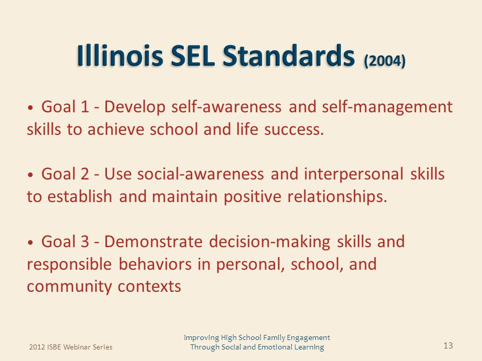Goal 1 - Develop self-awareness and self-management skills to achieve school and life success. Goal 2 - Use social-awareness and interpersonal skills