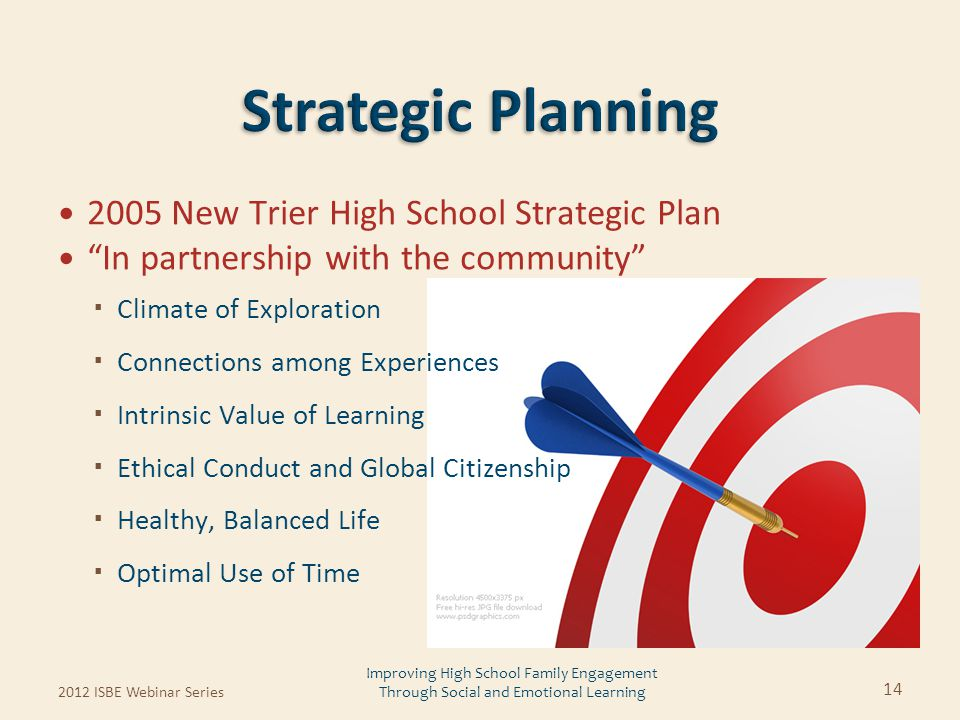 "2005 New Trier High School Strategic Plan ""In partnership with the community""  Climate of Exploration  Connections among Experiences  Intrinsic Val"