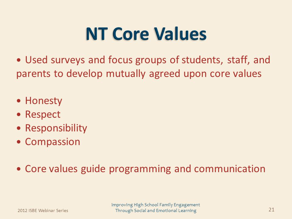 Used surveys and focus groups of students, staff, and parents to develop mutually agreed upon core values Honesty Respect Responsibility Compassion Co