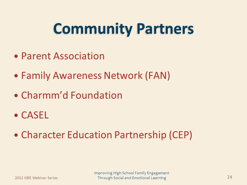 Parent Association Family Awareness Network (FAN) Charmm'd Foundation CASEL Character Education Partnership (CEP) 24 Improving High School Family Enga