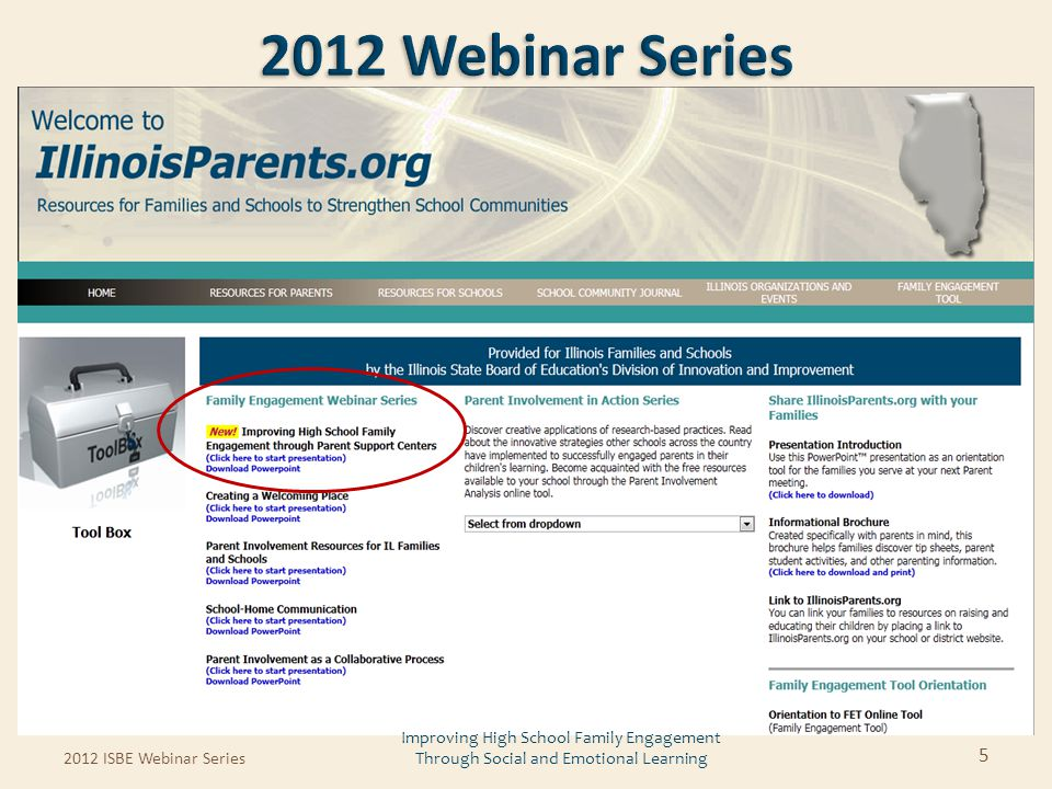2012 ISBE Webinar Series 5 Improving High School Family Engagement Through Social and Emotional Learning