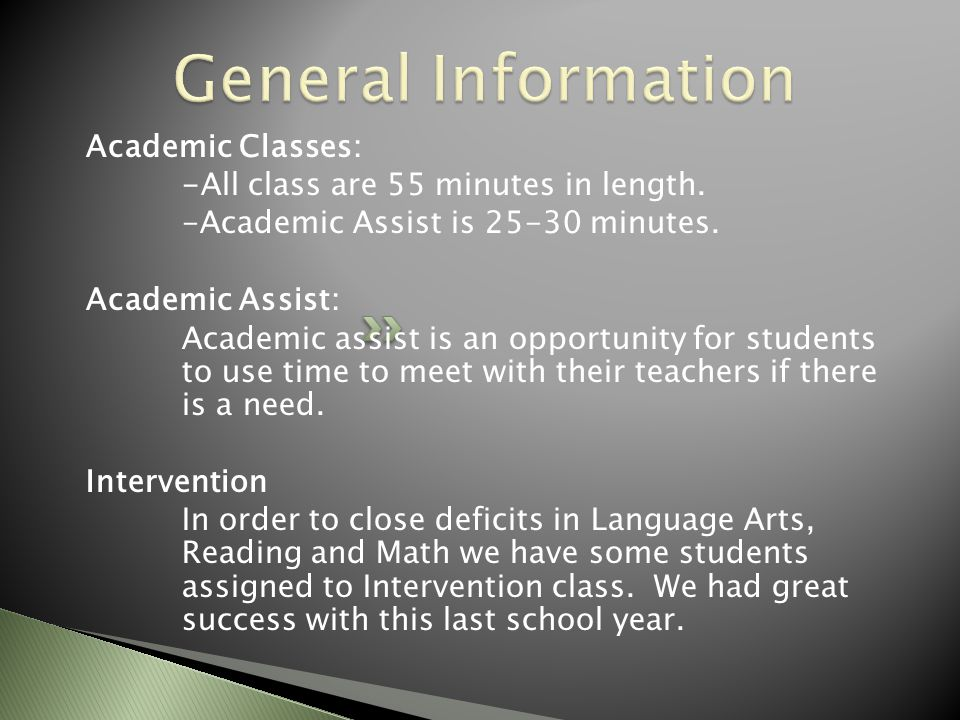 Academic Classes: -All class are 55 minutes in length. -Academic Assist is 25-30 minutes. Academic Assist: Academic assist is an opportunity for stude