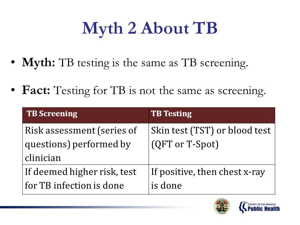 Myth 2 About TB Myth: TB testing is the same as TB screening.