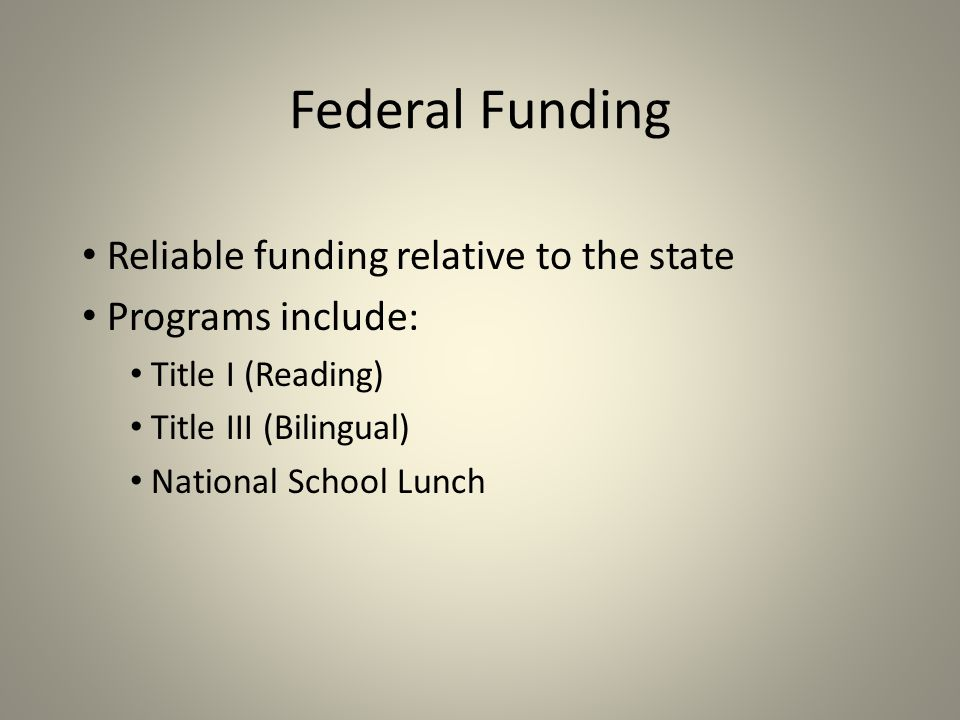 Federal Funding Reliable funding relative to the state Programs include: Title I (Reading) Title III (Bilingual) National School Lunch