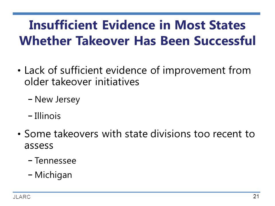 JLARC Insufficient Evidence in Most States Whether Takeover Has Been Successful Lack of sufficient evidence of improvement from older takeover initiatives − New Jersey − Illinois Some takeovers with state divisions too recent to assess − Tennessee − Michigan 21