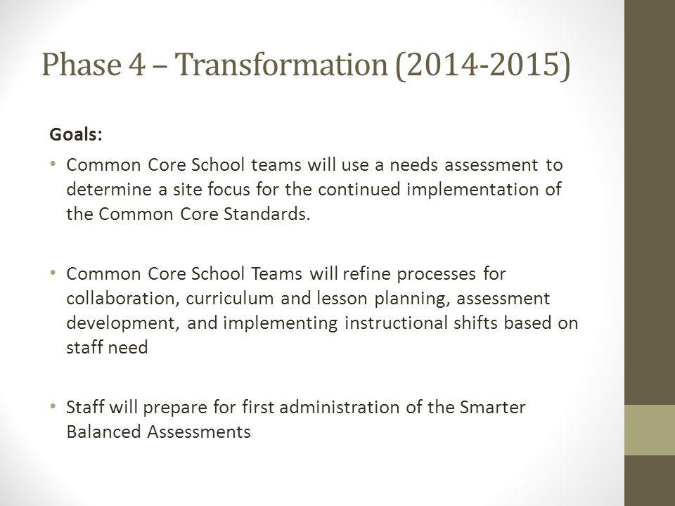 Phase 4 – Transformation (2014-2015) Goals: Common Core School teams will use a needs assessment to determine a site focus for the continued implementation of the Common Core Standards.