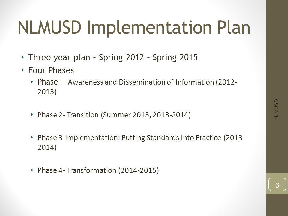NLMUSD Implementation Plan Three year plan – Spring 2012 – Spring 2015 Four Phases Phase I – Awareness and Dissemination of Information (2012- 2013) Phase 2- Transition (Summer 2013, 2013-2014) Phase 3-Implementation: Putting Standards Into Practice (2013- 2014) Phase 4- Transformation (2014-2015) NLMUSD 3