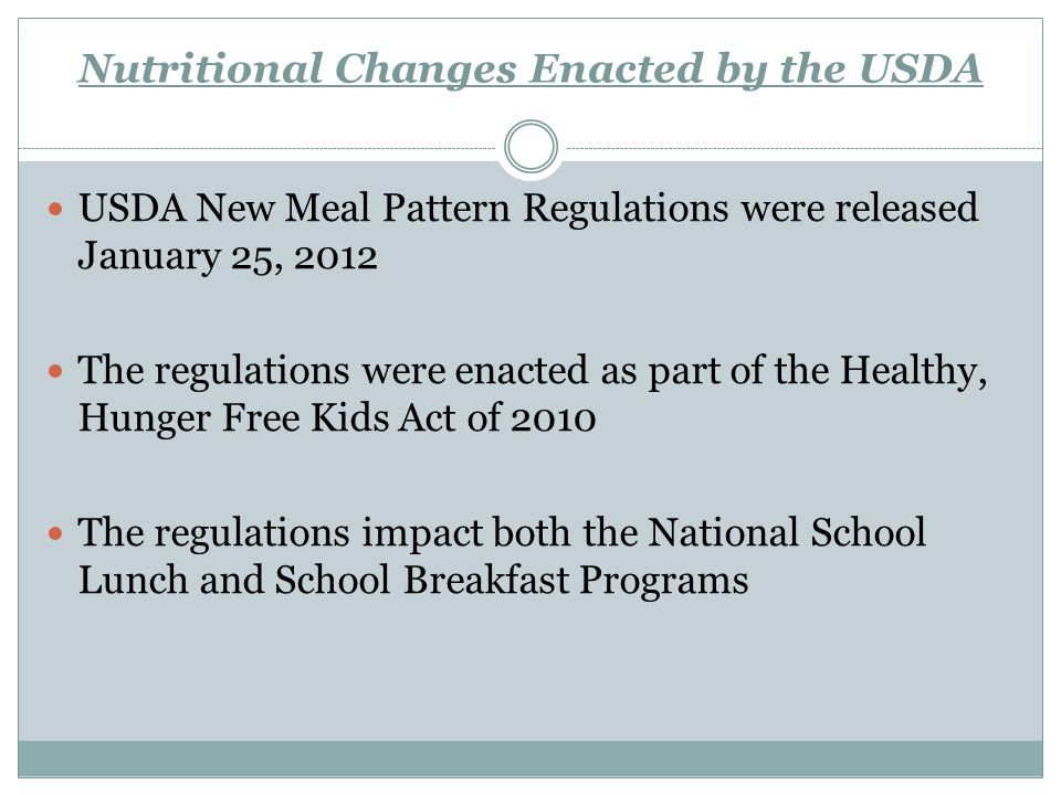 Overview Texas' nutritional standards (as outlined in the Texas Public School Nutrition Standards Policy) still exceed USDA regulations in some instances.
