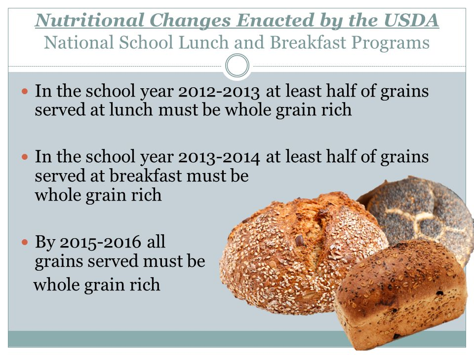 Additional Information Please refer to squaremeals.org for more information on meal pattern regulations or call 1-877-TEX MEAL The next slides contain a chart of the meal pattern changes for Nation School Lunch Program denoted as L and the School Breakfast Program denoted as B