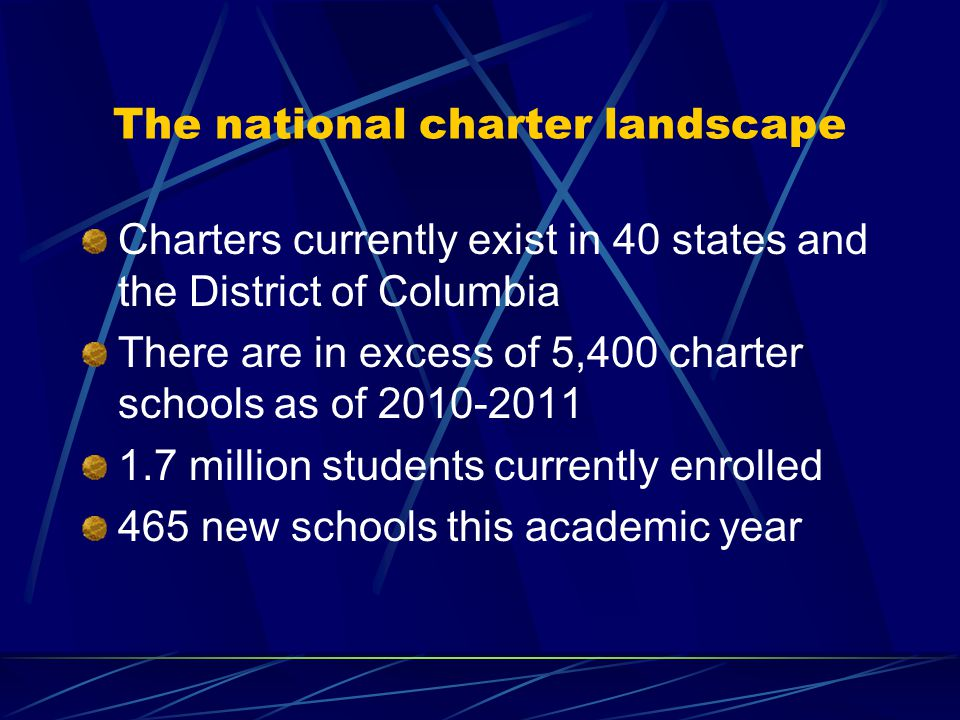 The national charter landscape Charters currently exist in 40 states and the District of Columbia There are in excess of 5,400 charter schools as of 2010-2011 1.7 million students currently enrolled 465 new schools this academic year