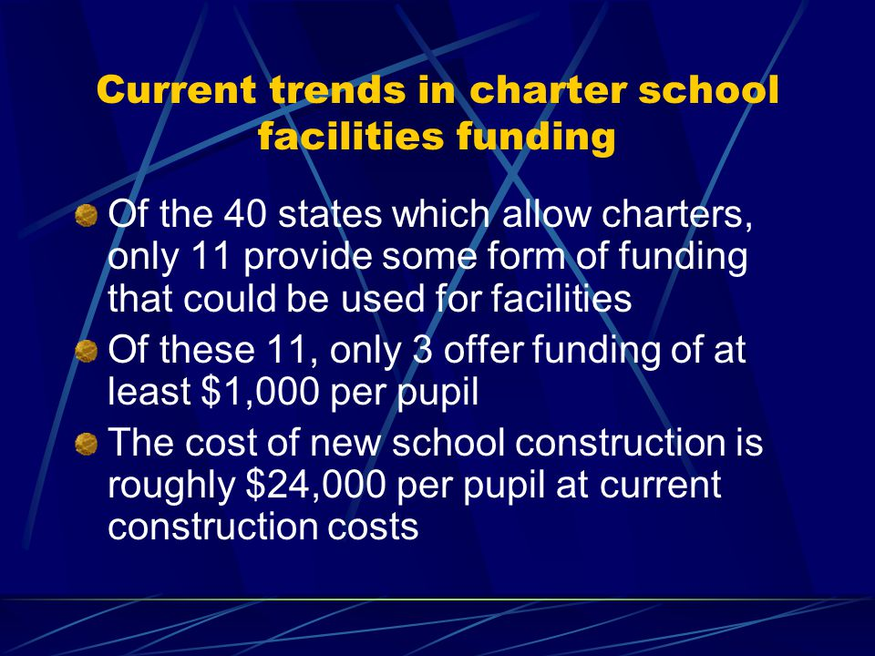 Current trends in charter school facilities funding Of the 40 states which allow charters, only 11 provide some form of funding that could be used for