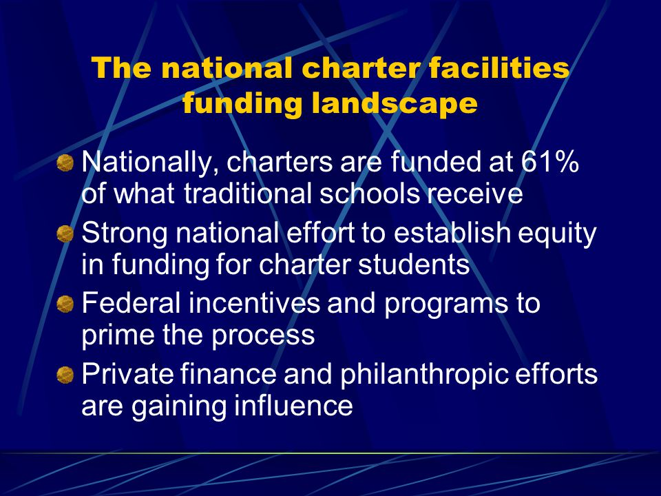 The national charter facilities funding landscape Nationally, charters are funded at 61% of what traditional schools receive Strong national effort to establish equity in funding for charter students Federal incentives and programs to prime the process Private finance and philanthropic efforts are gaining influence