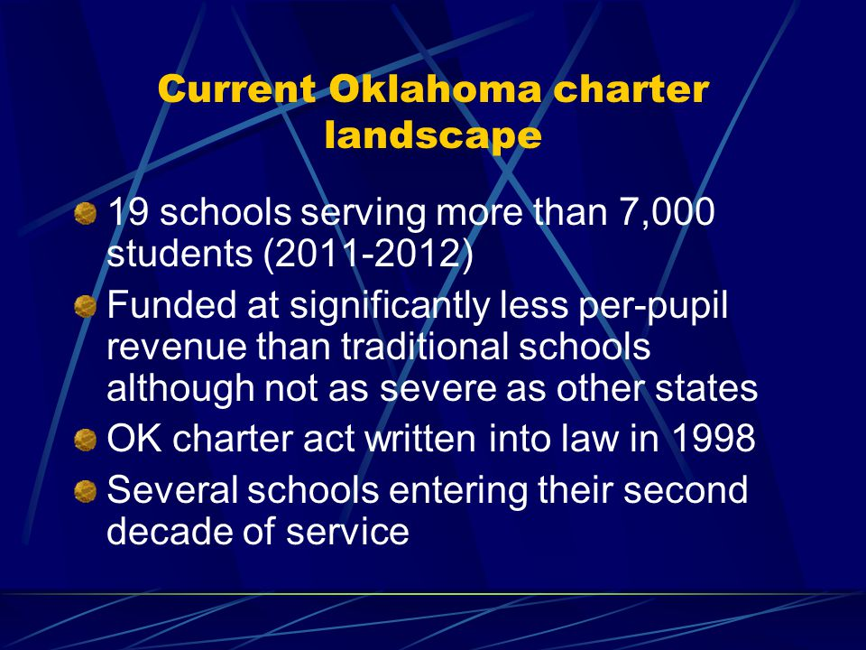 Oklahoma charter schools facilities We know that the physical conditions in which instruction takes place effects outcomes.