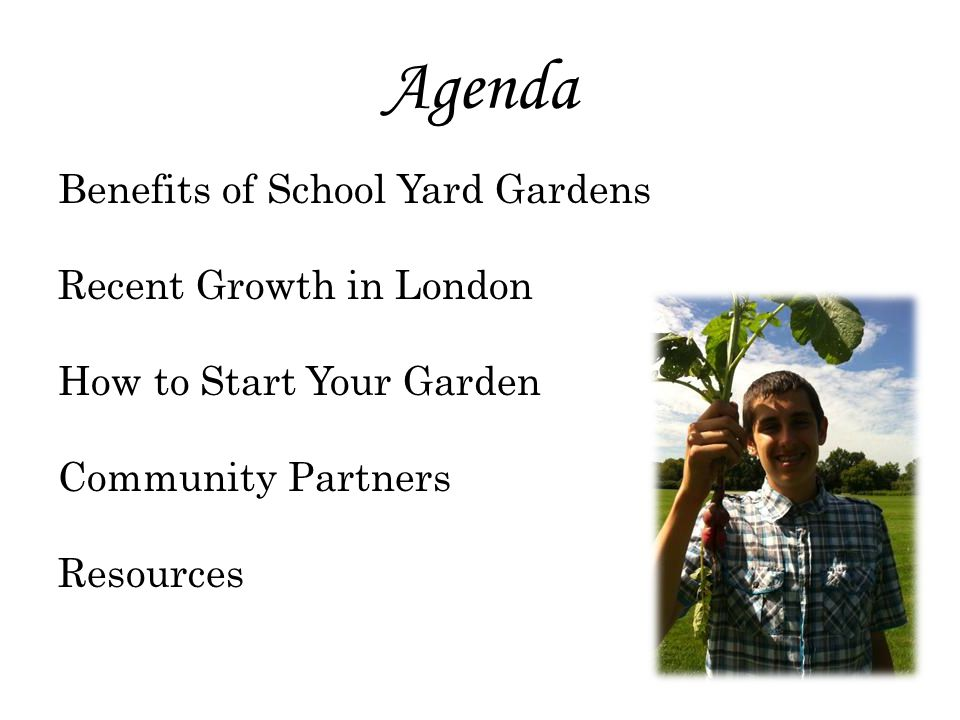 Agenda Benefits of School Yard Gardens Recent Growth in London How to Start Your Garden Community Partners Resources