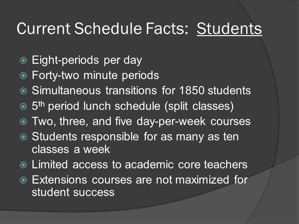 Current Schedule Facts: Students  Eight-periods per day  Forty-two minute periods  Simultaneous transitions for 1850 students  5 th period lunch schedule (split classes)  Two, three, and five day-per-week courses  Students responsible for as many as ten classes a week  Limited access to academic core teachers  Extensions courses are not maximized for student success