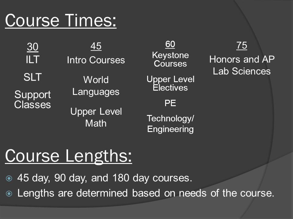 Course Times: 30 ILT SLT Support Classes 60 Keystone Courses Upper Level Electives PE Technology/ Engineering 75 Honors and AP Lab Sciences 45 Intro Courses World Languages Upper Level Math  45 day, 90 day, and 180 day courses.