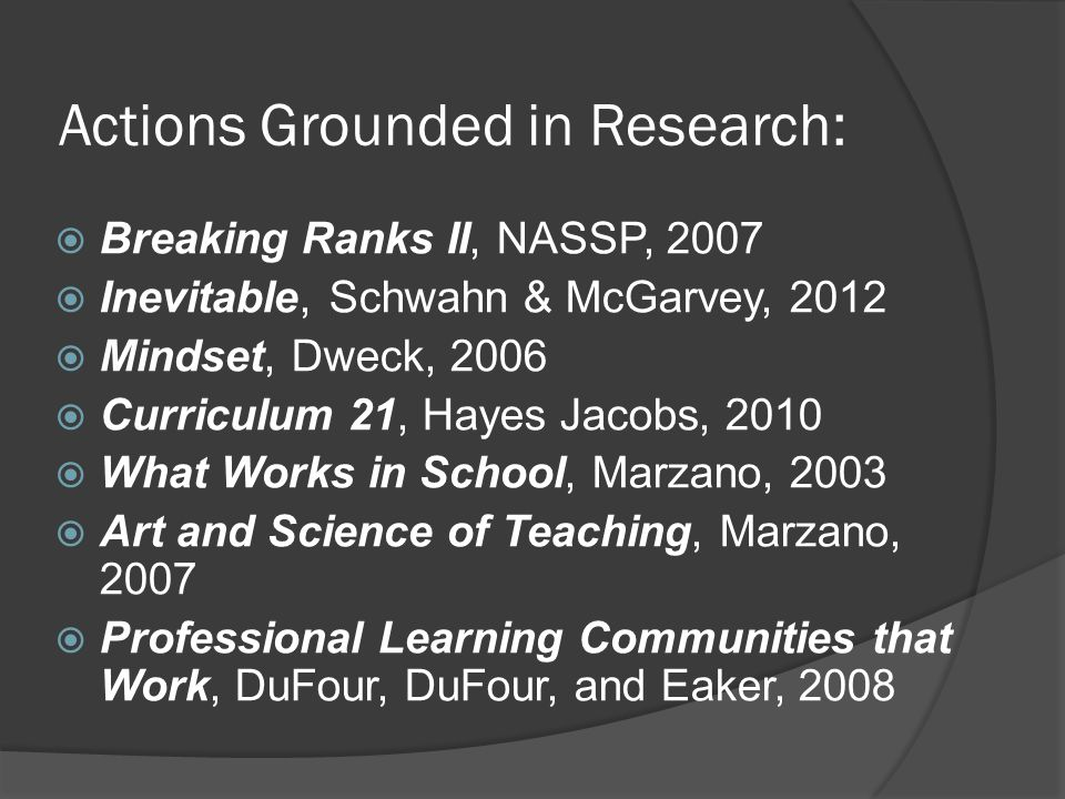 Actions Grounded in Research:  Breaking Ranks II, NASSP, 2007  Inevitable, Schwahn & McGarvey, 2012  Mindset, Dweck, 2006  Curriculum 21, Hayes Jacobs, 2010  What Works in School, Marzano, 2003  Art and Science of Teaching, Marzano, 2007  Professional Learning Communities that Work, DuFour, DuFour, and Eaker, 2008