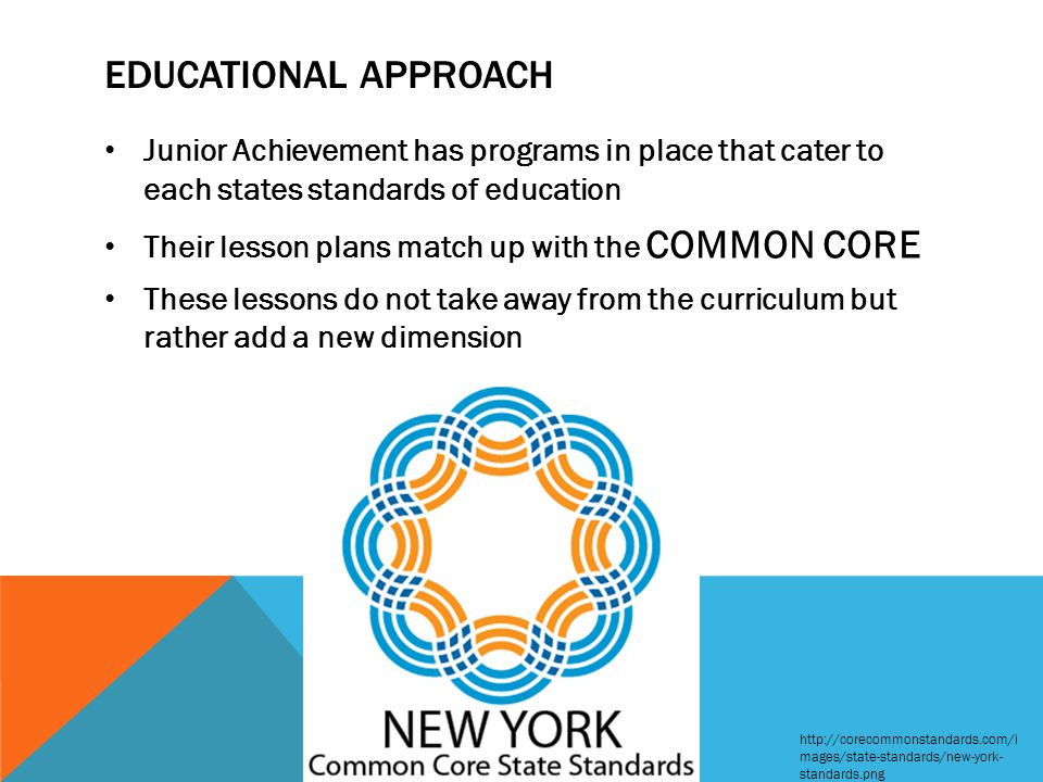 EDUCATIONAL APPROACH Junior Achievement has programs in place that cater to each states standards of education Their lesson plans match up with the CO