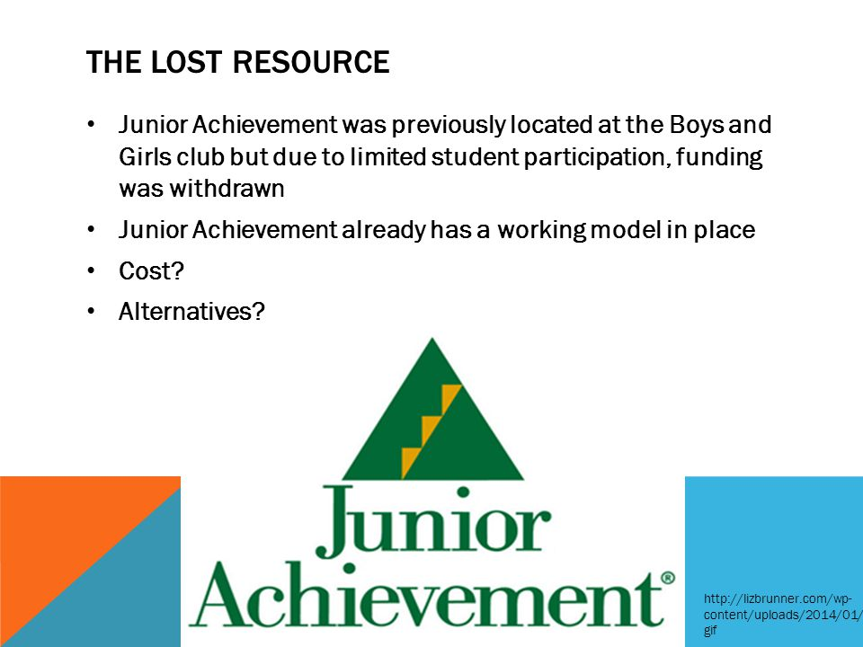 THE LOST RESOURCE Junior Achievement was previously located at the Boys and Girls club but due to limited student participation, funding was withdrawn Junior Achievement already has a working model in place Cost.