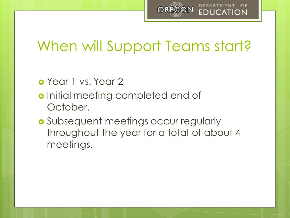 When will Support Teams start.  Year 1 vs. Year 2  Initial meeting completed end of October.