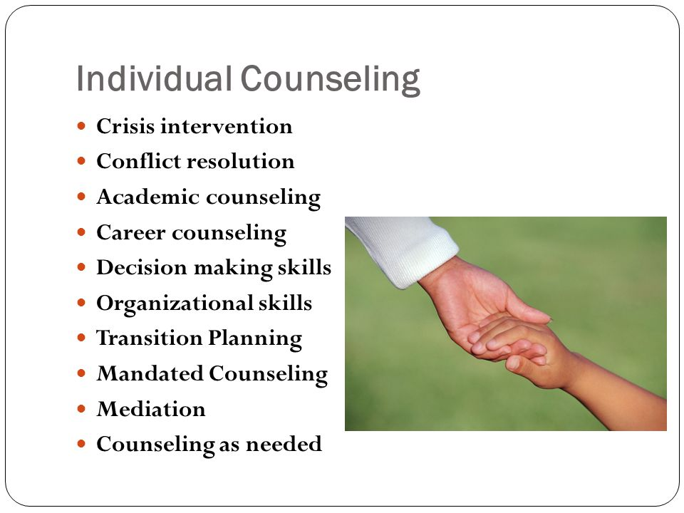 Individual Counseling Crisis intervention Conflict resolution Academic counseling Career counseling Decision making skills Organizational skills Transition Planning Mandated Counseling Mediation Counseling as needed