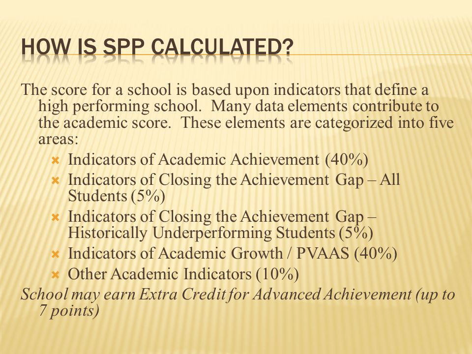 The score for a school is based upon indicators that define a high performing school.