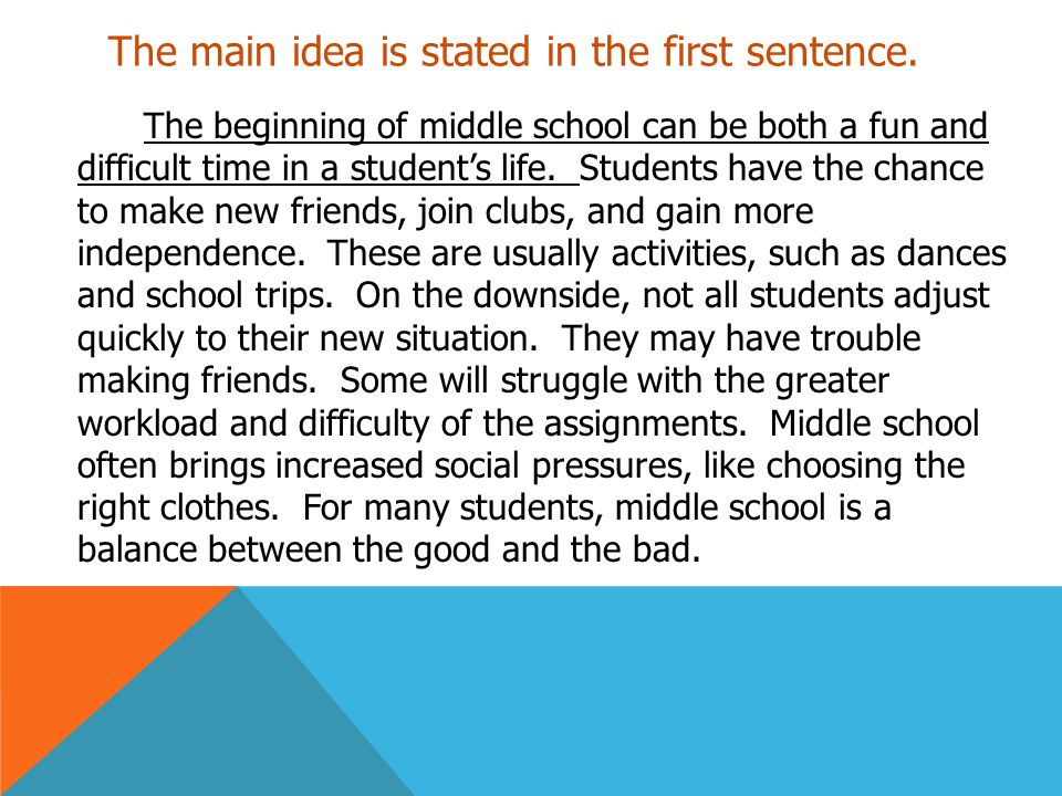 The main idea is stated in the first sentence. The beginning of middle school can be both a fun and difficult time in a student's life. Students have