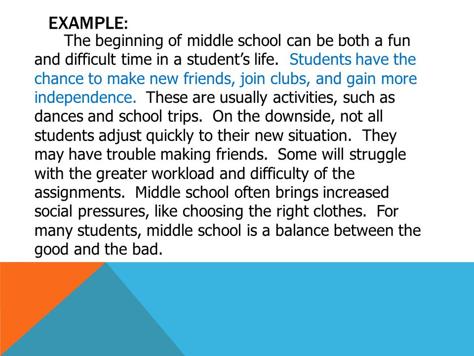 EXAMPLE: The beginning of middle school can be both a fun and difficult time in a student's life.