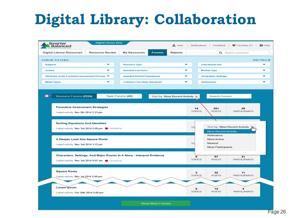 Digital Library: Collaboration Page 26