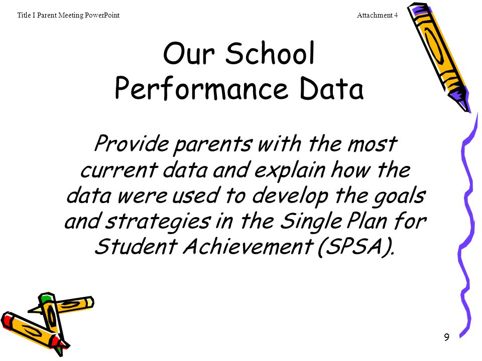 10 Single Plan for Students Achievement or SPSA Parents are informed about the school's curriculum in English/ Language Arts and Math, as well as other core subjects.