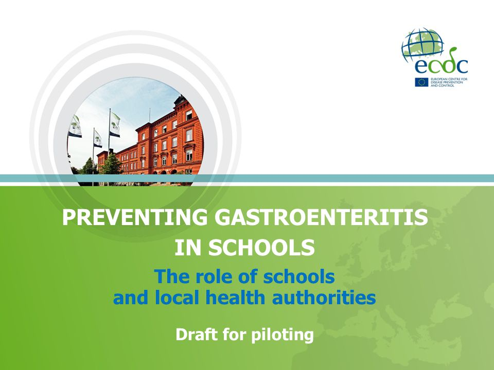 PREVENTING GASTROENTERITIS IN SCHOOLS The role of schools and local health authorities Draft for piloting