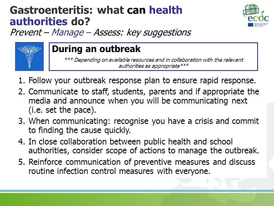 Gastroenteritis: what can health authorities do.