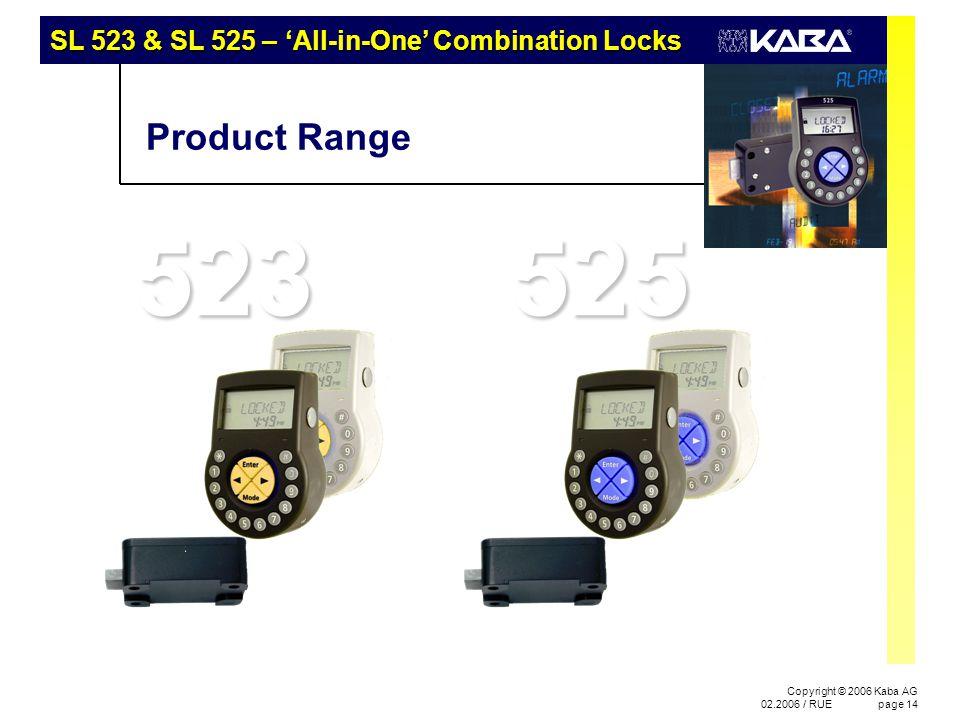 Copyright © 2006 Kaba AG 02.2006 / RUEpage 14 523 Product Range 525