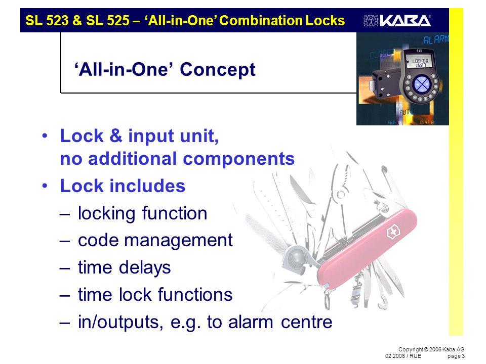 Fields of Application SL 523 & SL 525 – 'All-in-One' Combination Locks