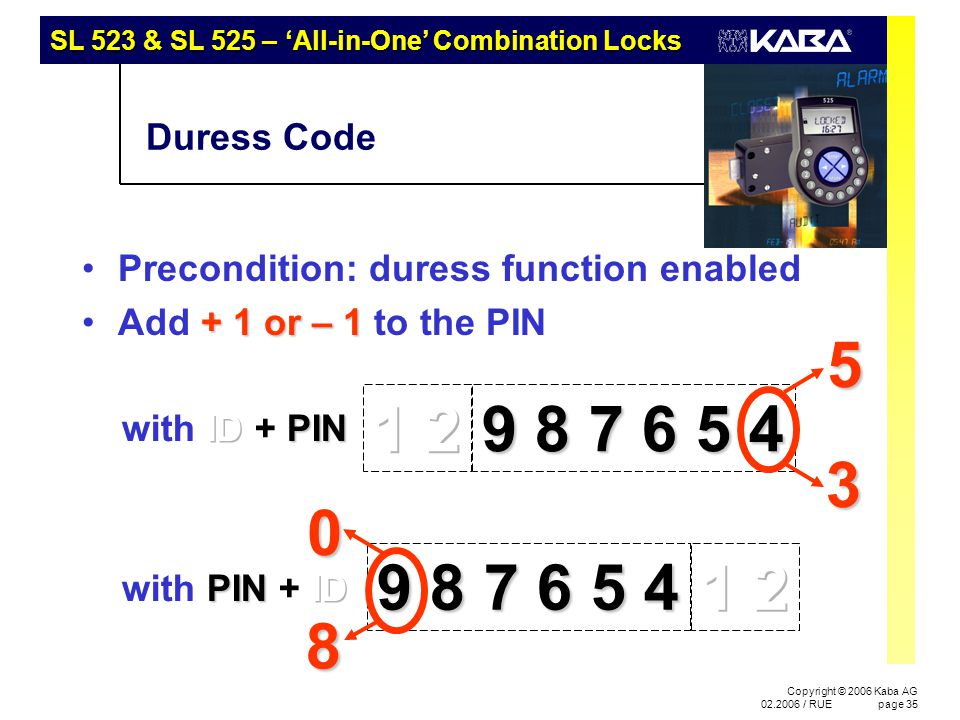 SL 523 & SL 525 – 'All-in-One' Combination Locks Copyright © 2006 Kaba AG 02.2006 / RUEpage 35 Duress Code Precondition: duress function enabled + 1 o
