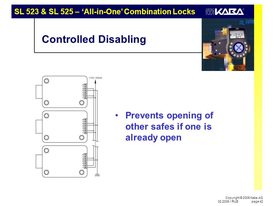 SL 523 & SL 525 – 'All-in-One' Combination Locks Copyright © 2006 Kaba AG 02.2006 / RUEpage 42 Controlled Disabling Prevents opening of other safes if