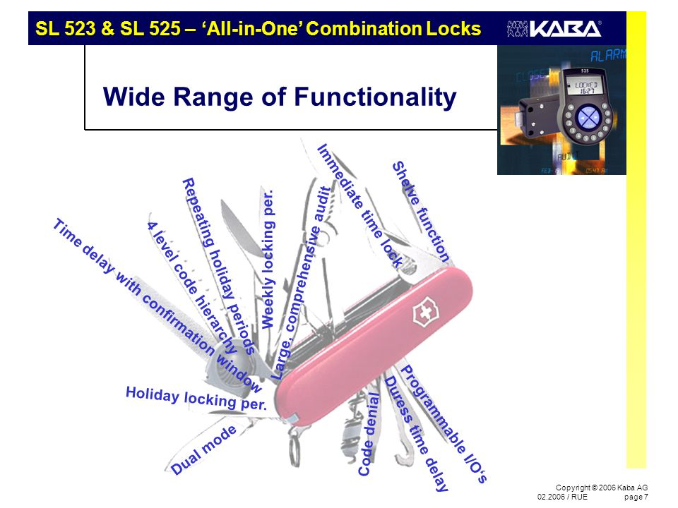 SL 523 & SL 525 – 'All-in-One' Combination Locks Copyright © 2006 Kaba AG 02.2006 / RUEpage 48 Application Fields 4 Large department stores, shopping centres –Large number of user codes –Easy operation –Manager / user groups for shift operation –Master can / cannot open –Comprehensive audit trial