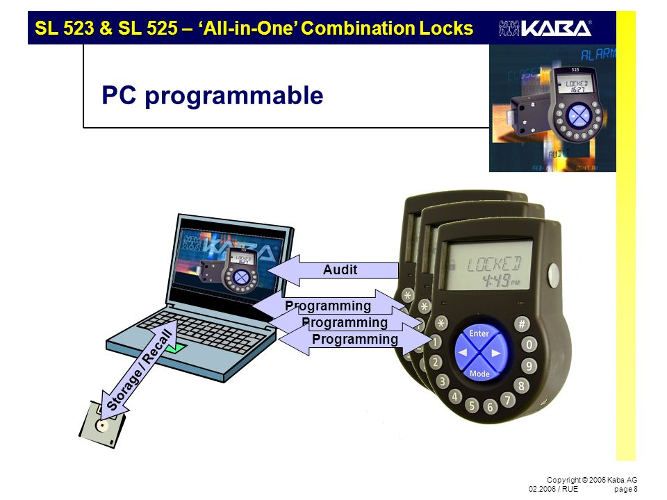 SL 523 & SL 525 – 'All-in-One' Combination Locks Copyright © 2006 Kaba AG 02.2006 / RUEpage 8 PC programmable Storage / Recall Audit Programming