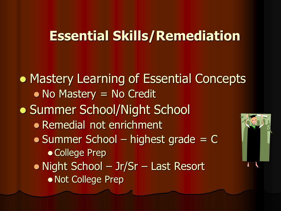 Essential Skills/Remediation Essential Skills/Remediation Mastery Learning of Essential Concepts Mastery Learning of Essential Concepts No Mastery = N