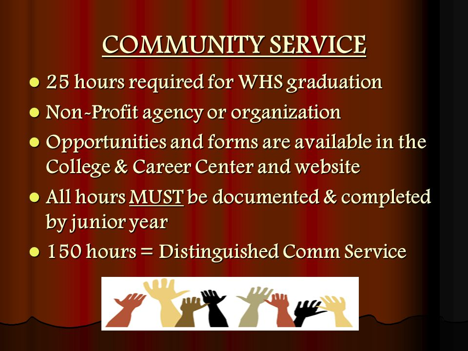 25 hours required for WHS graduation 25 hours required for WHS graduation Non-Profit agency or organization Non-Profit agency or organization Opportunities and forms are available in the College & Career Center and website Opportunities and forms are available in the College & Career Center and website All hours MUST be documented & completed by junior year All hours MUST be documented & completed by junior year 150 hours = Distinguished Comm Service 150 hours = Distinguished Comm Service COMMUNITY SERVICE