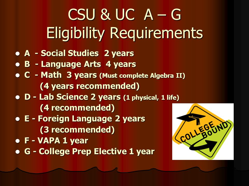 CSU & UC A – G Eligibility Requirements A - Social Studies 2 years A - Social Studies 2 years B - Language Arts 4 years B - Language Arts 4 years C - Math 3 years (Must complete Algebra II) C - Math 3 years (Must complete Algebra II) (4 years recommended) D - Lab Science 2 years (1 physical, 1 life) D - Lab Science 2 years (1 physical, 1 life) (4 recommended) E - Foreign Language 2 years E - Foreign Language 2 years (3 recommended) F - VAPA 1 year F - VAPA 1 year G - College Prep Elective 1 year G - College Prep Elective 1 year