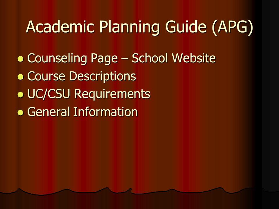 Academic Planning Guide (APG) Counseling Page – School Website Counseling Page – School Website Course Descriptions Course Descriptions UC/CSU Require