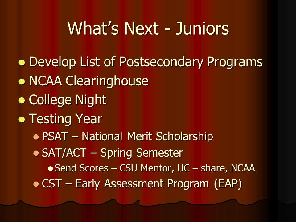What's Next - Juniors Develop List of Postsecondary Programs Develop List of Postsecondary Programs NCAA Clearinghouse NCAA Clearinghouse College Nigh