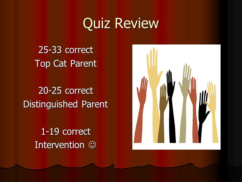 Quiz Review 25-33 correct Top Cat Parent 20-25 correct Distinguished Parent 1-19 correct Intervention Intervention