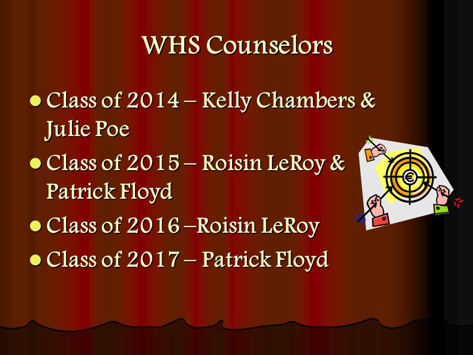 WHS Counselors Class of 2014 – Kelly Chambers & Julie Poe Class of 2014 – Kelly Chambers & Julie Poe Class of 2015 – Roisin LeRoy & Patrick Floyd Class of 2015 – Roisin LeRoy & Patrick Floyd Class of 2016 –Roisin LeRoy Class of 2016 –Roisin LeRoy Class of 2017 – Patrick Floyd Class of 2017 – Patrick Floyd