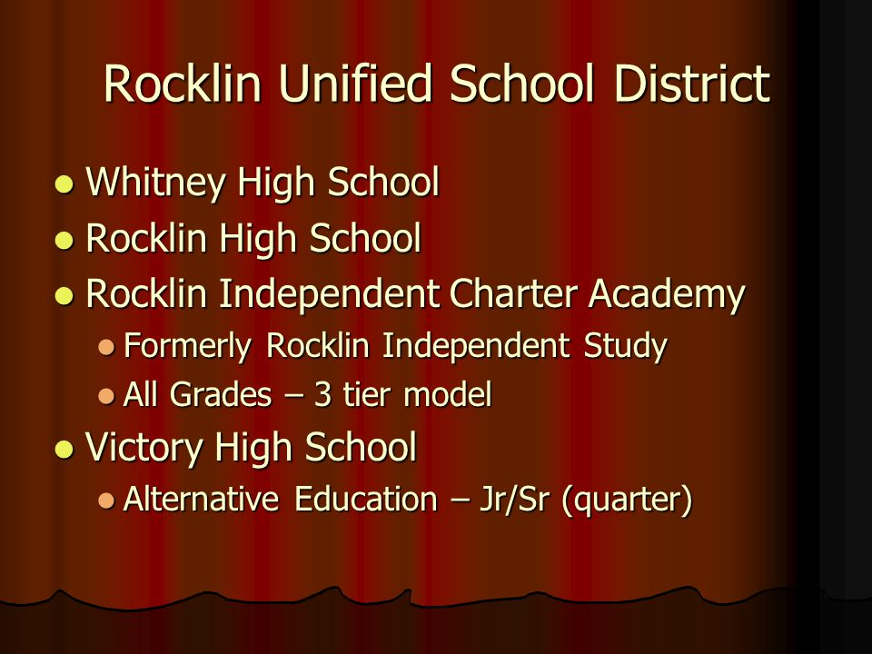 Rocklin Unified School District Whitney High School Whitney High School Rocklin High School Rocklin High School Rocklin Independent Charter Academy Ro